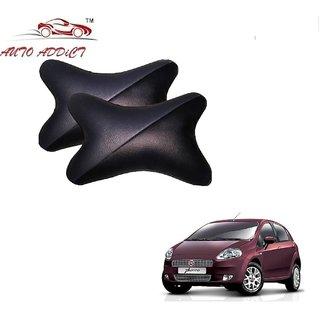 Auto Addict Car Neck Rest Pillow Cushion Grey Black Set of 2 Pcs For Fiat Punto