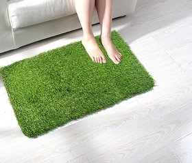 Shakrin Green Polyester Door Mat (60 cm x 40 cm) - Set Of 1