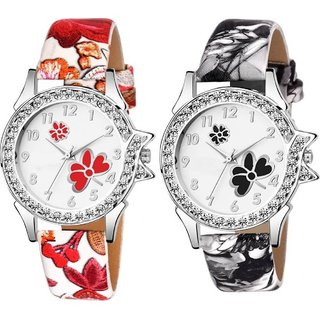 HRV Combo pack 2New Edition Stylish Artist Designer Flower Print Dial Analog Watch For Girls Women T-C305 Watc