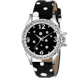 HRV LimitedEdition Black Leather Strap Attractive Stylish Women Watch