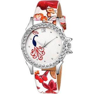 HRV REd Flower Print Belt Peacock Print Dial Women Analog Watch