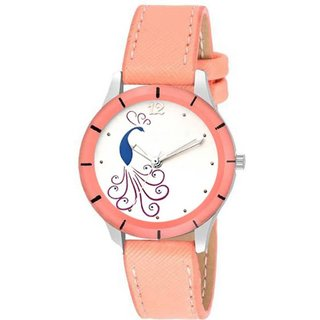 HRV Orange CutGlass Peacock Print Dial Women Analog Watch