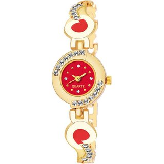 HRV Red Round Diamond Gold Gift analog Women Watch