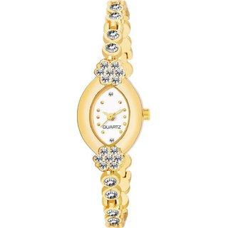 HRV Oval White Meena Diamond Gold Gift analog Women Watch
