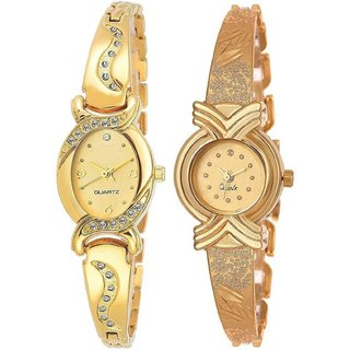 HRV Gold Oval And X Model Women And Gilrs Analog Watch