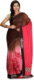 Brown and Pink Color Viscose Designer Saree