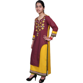 Omikka Trendy Chikankari Embroidery Work Double Layered Kurtis (S, M, L, XL, XXL)