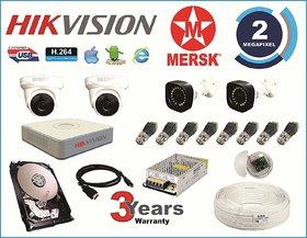 Hikvision 4 Ch Turbo HD Dvr and Mersk Full HD (2MP) CCTV Camera Kit with (All Required Accessories) Note  No Installati