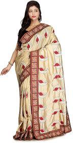Cream Color Raw Silk Designer Saree