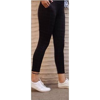 Trusha Dresses New Black Chex Jeggings for Girls and Women