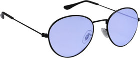 Derry  Sky Blue Oval Vintage Sunglasses in Black Frame