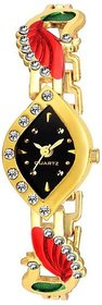 Ismart Casual Analog Black Dial With Gold Strap Metal Watch for Women