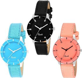 7star Orange , Blue and Brown combo watches for women Watch