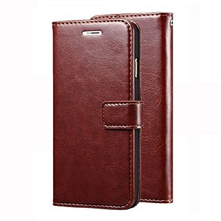 SamMus Stylish Vintage Retro Leather Wallet Diary Stand Flip Cover Case for Tecno Camon iACE (Brown)