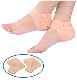 Silicone Gel Unisex Heel Pad Socks For Cracked Heels and Swelling Pain Relief (Free Size) (1 Pair)