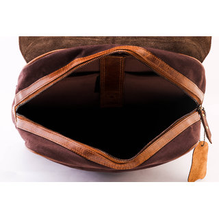 Handcrafted Leather  Canvas 15 Laptop Backpack.(Brown)