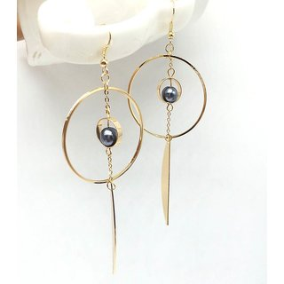 f59841b60 Code Yellow Black Bead Round Long Danglers with Feather Drop Earrings