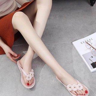 670270425f5bbb Popmode Fashionable Pink Girls Flower Applique Slippers Flipflops