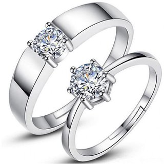 Code Yellow Silver Solitaire Adjustable Couple Rings Set