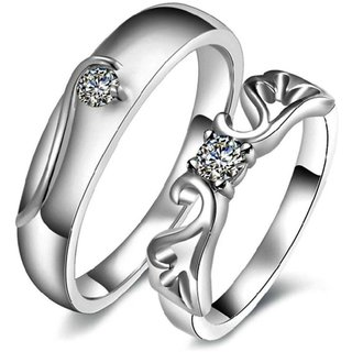 Code Yellow Solitaire Feather Design Adjustable Couple Rings Set