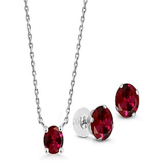 Jaipur Gemstone Ruby Stone Natural Certified Manik Silver Plated Pendant With Earring.