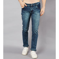 Stylox Men Slim Fit Mid Rise Whisker Blue Jeans