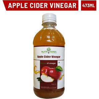 Nutriherbs Natural Unfiltered Undiluted Non-GMO Organic Apple Cider Vinegar with the Mother - 473 ml (Pack of 1)