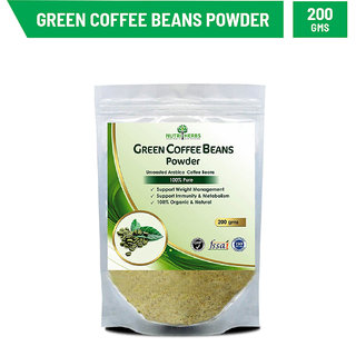 Nutriherbs Green Coffee Beans Decaffeinated  Unroasted Arabica Coffee Beans Powder  Herbal Supplement For Weight Management Acts As An Antioxidant - 200 Gms
