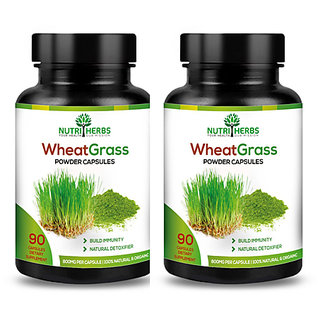 Nutriherbs Wheatgrass Extracts 800 mg 90 Capsules 100 Natural  Pure (Pack of 2)