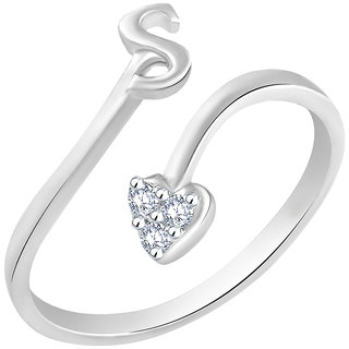 Sukai Jewels Initial 'S' Heart Rhodium Plated Alloy  Brass Cubic Zirconia Alphabet Ring for Women  Girls SAFR213R