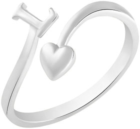 Sukai Jewels Initial 'L' Heart Rhodium Plated Alloy & Brass Cubic Zirconia Alphabet Ring for Women & Girls [SAFR214R]