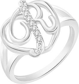 Sukai Jewels Stylish Heart Initial R Rhodium Plated Alloy Brass Cubic Zirc