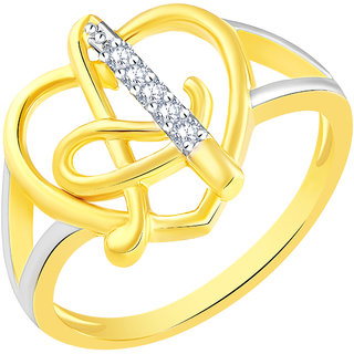 Sukai Jewels Stylish Heart Initial 'A' Gold Plated Alloy & Brass Cubic Zirconia Alphabet Ring for Women & Girls [SAFR215G]