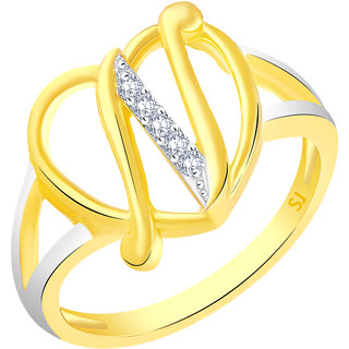Sukai Jewels Stylish Heart Initial 'N' Gold Plated Alloy & Brass Cubic Zirconia Alphabet Ring for Women & Girls [SAFR219G]