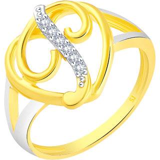 Sukai Jewels Stylish Heart Initial 'P' Gold Plated Alloy & Brass Cubic Zirconia Alphabet Ring for Women & Girls [SAFR221G]