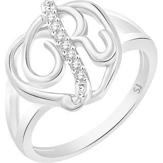 Sukai Jewels Stylish Heart Initial 'R' Rhodium Plated Alloy  Brass Cubic Zirconia Alphabet Ring for Women  Girls SAFR223R
