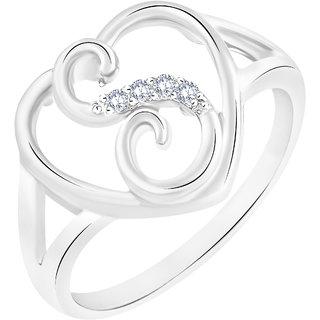 Sukai Jewels Stylish Heart Initial 'S' Rhodium Plated Alloy  Brass Cubic Zirconia Alphabet Ring for Women Girls SAFR225R