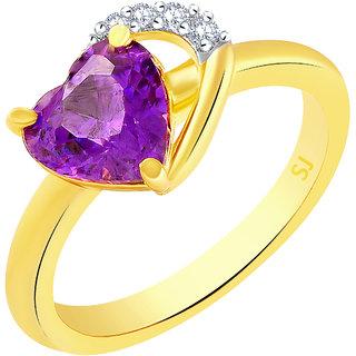 Sukai Jewels Purple Ruby Heart Gold Plated Alloy & Brass Cubic Zirconia Finger Ring for Women & Girls [SFR1216G]