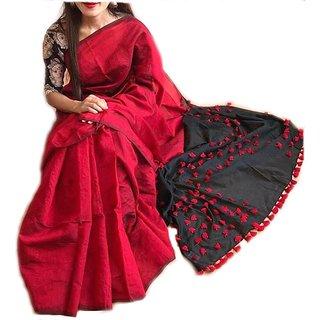 Red Silk Cotton Pom Pom Handloom Saree