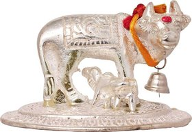 Gifts  Decor Kamdhenu / kamadhenu / kamdehnu / kaamdhenu cow and calf / gau mata indian desi metal / aluminium Idol