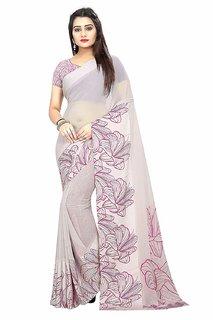 Sarees Women's Printed Georgette Satin Patta Saree with Blouse Piece(Grey)