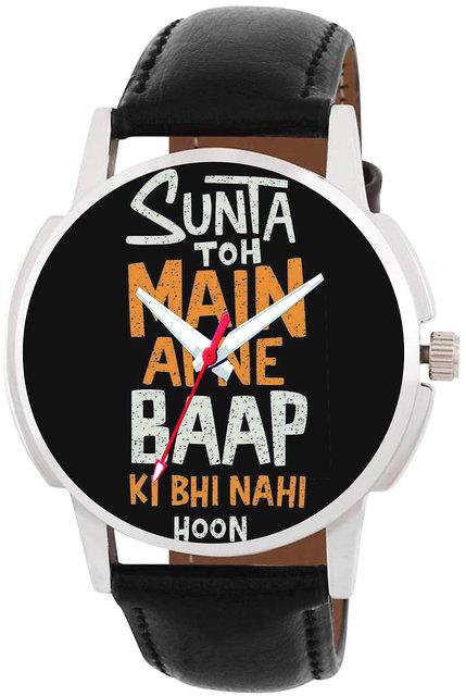 29K Men's Round Dial Black Genuine Leather Strap Wrist Watch