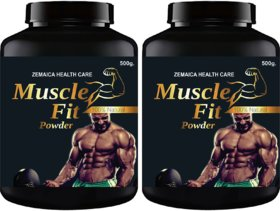 Muscle Fit Herbal Powder For Weight And Muscle Gain Chocolate Flavour (500Gm Powder Each) Pack Of 2