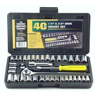 Universal Hand Tool Kit 40Pc Multi Purpose Combination Socket Wrench Set