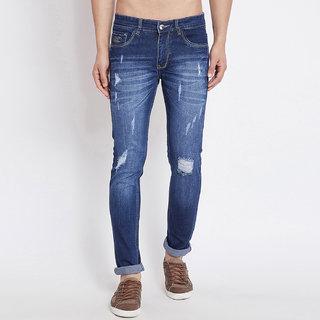 Stylox Men Slim Fit Distress Blue Jeans