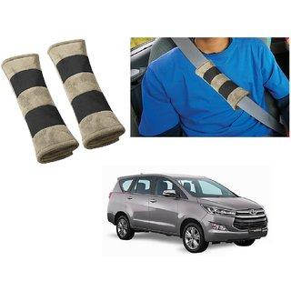 Auto Addict Car Seat Belt Cushion Pillow (Beige Black) -2 Pieces For Toyota Innova Crysta