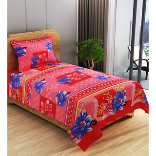 Azaani Polycotton Pink Single 3D Printed Bedsheet with 1 Pillow Cover