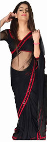 Bhuwal Fashion Designer Black Lace Lycra Saree with blouse