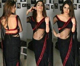 Bhuwal Fashion Designer Black Lace Lycra Saree With Blouse