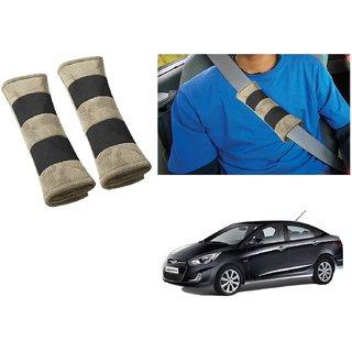Auto Addict Car Seat Belt Cushion Pillow (Beige Black) -2 Pieces For Hyundai Fluidic Verna 4s